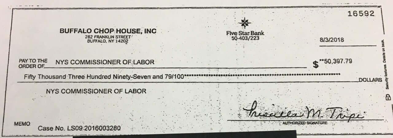 Buffalo Chophouse check to Labor Commissioner