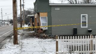 Truck hits building in Wyoming