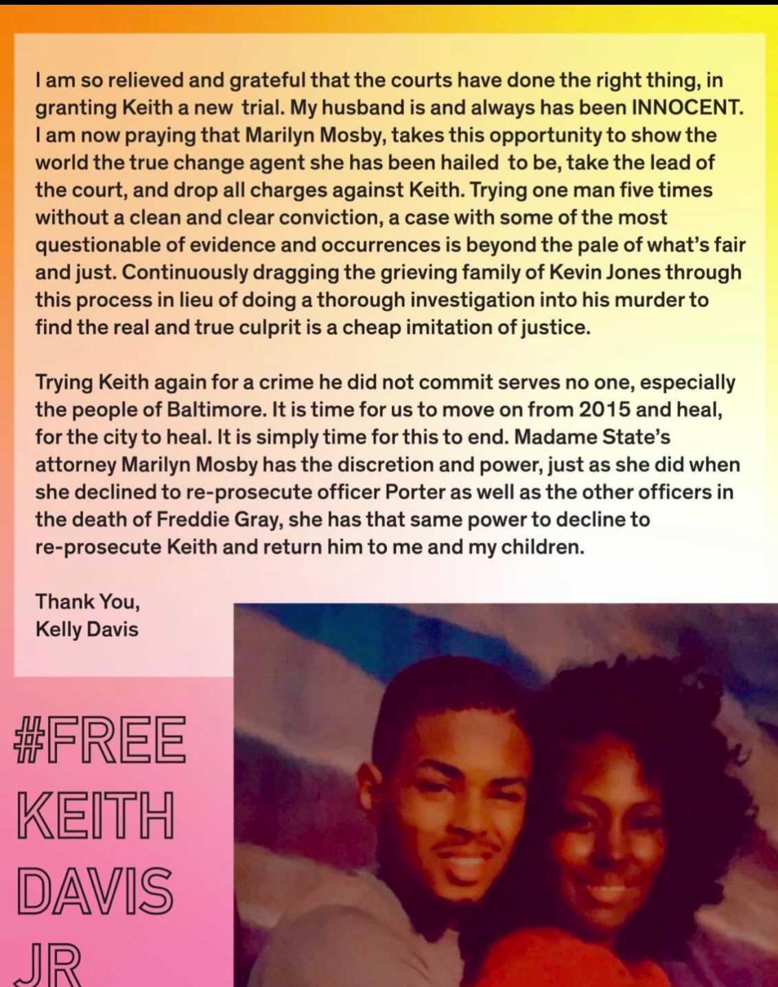 keith davis kelly davis statement