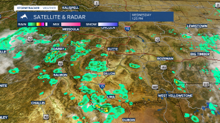 Scattered thunderstorms are building over SW Montana Wednesday afternoon