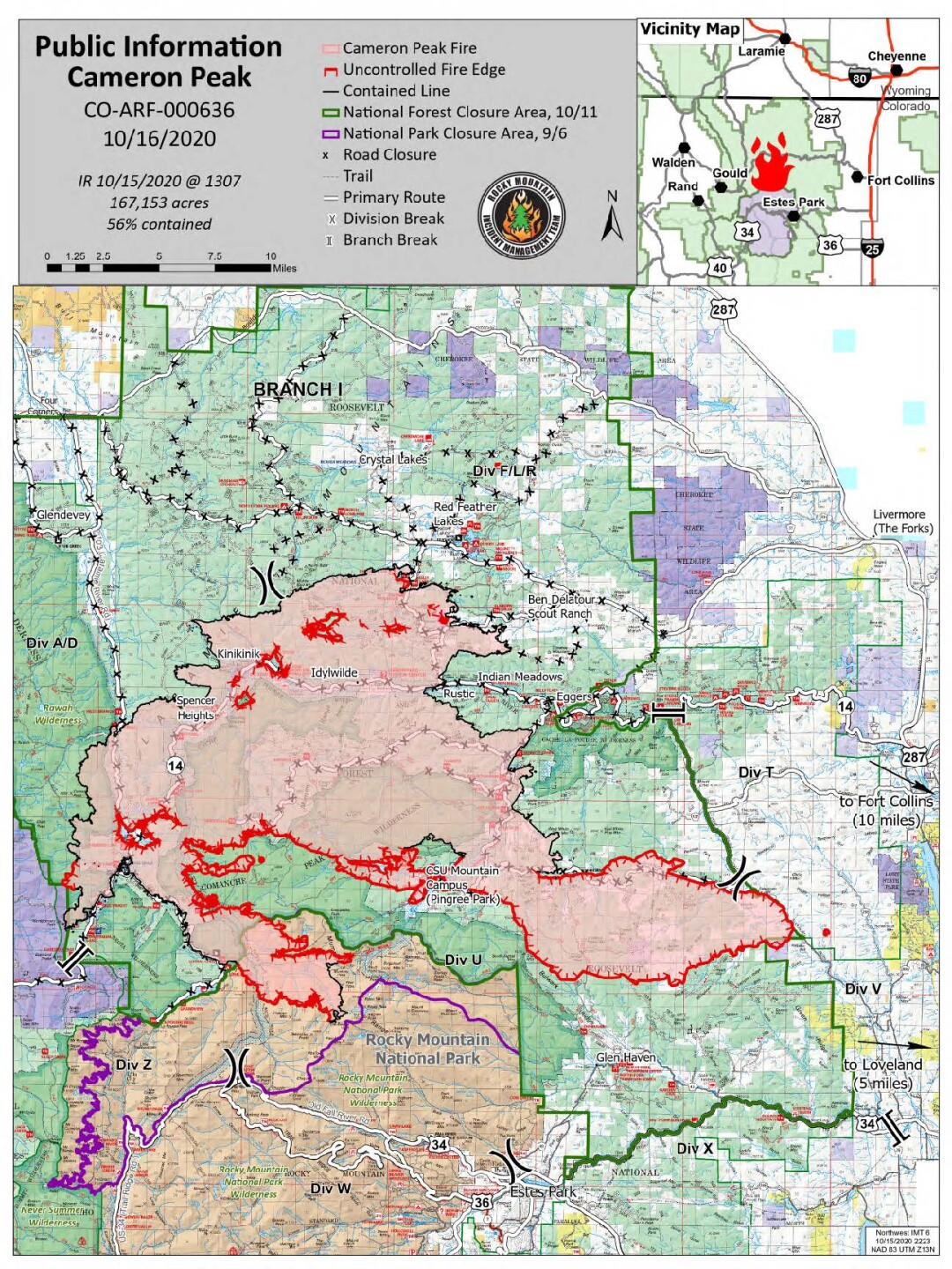 Cameron Peak Fire map_Oct 16 2020