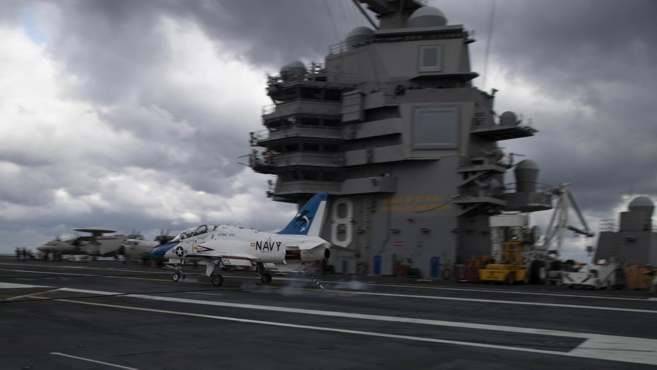 Flight testing begins at sea on USS Gerald R. Ford