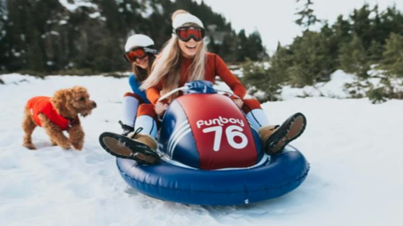Inflatable 'snowmobile' Sled Seats Two For Winter Fun