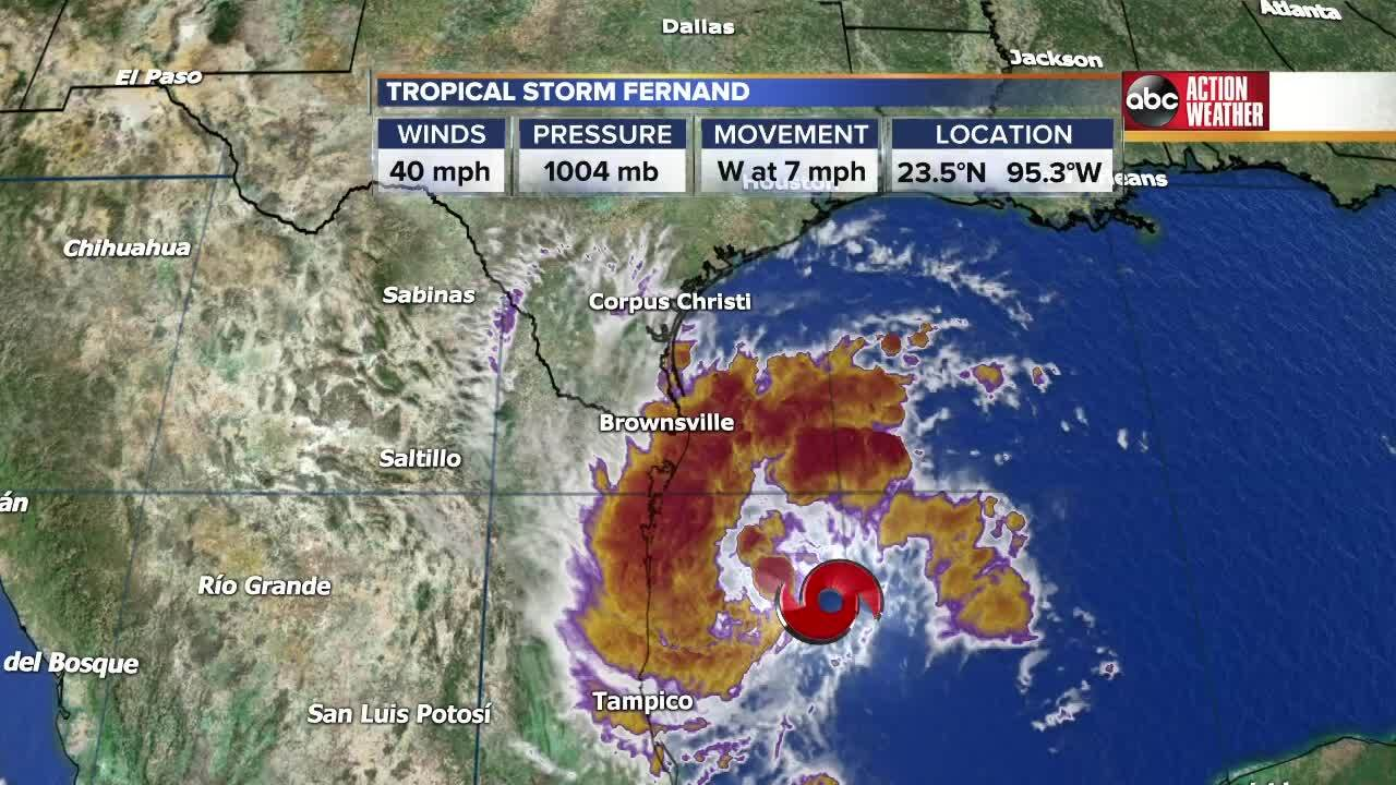 Tropical Storm Fernand forms in the Gulf of Mexico, poses no