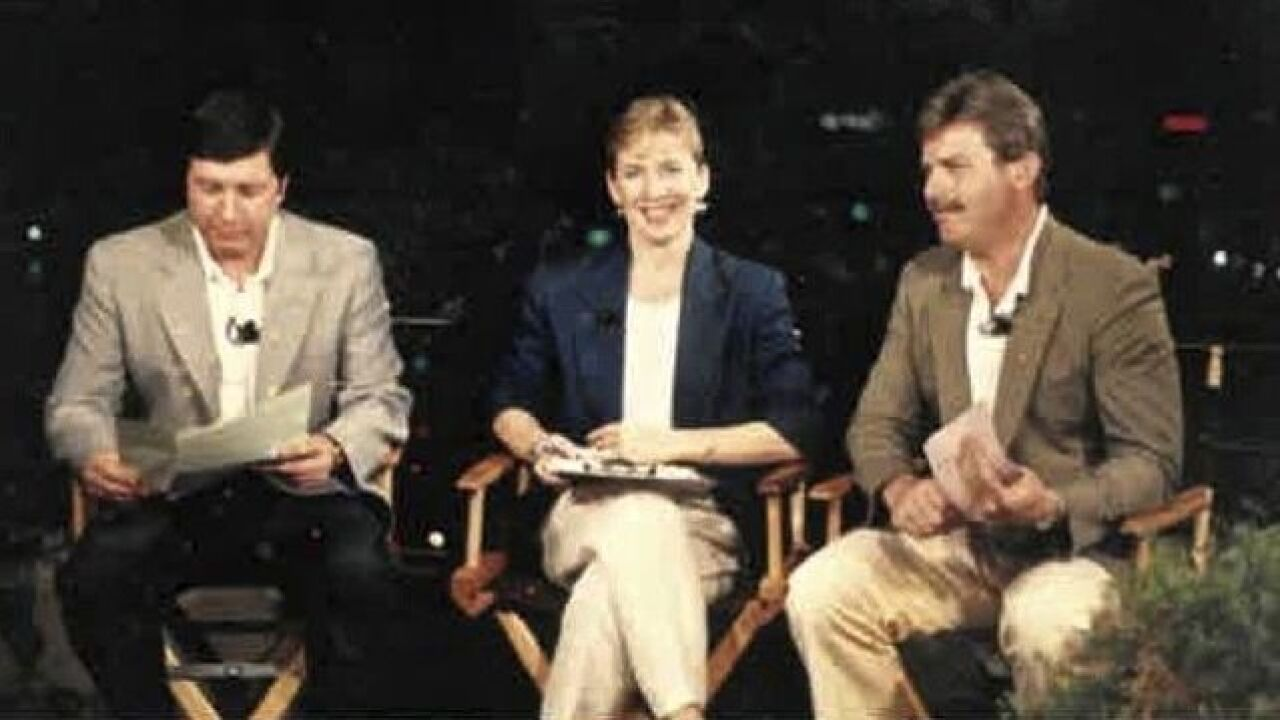John Popovich covering Super Bowl XXIII in Miami with Carol Williams and Dennis Janson