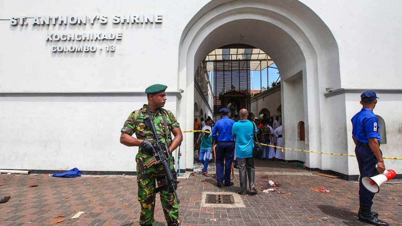 Sri Lankan security forces secure the area around St. Anthony's Shrine after an explosion hit St Anthony's Church in Kochchikade on April 21, 2019 in Colombo, Sri Lanka. At least 207 people have been killed and hundreds more injured after multiple explosions rocked three churches and three luxury hotels in and around Colombo as well as at Batticaloa in Sri Lanka during Easter Sunday mass. According to reports, at least 400 people were injured and are undergoing treatment as the blasts took place at churches in Colombo city as well as neighboring towns and hotels, including the Shangri-La, Kingsbury and Cinnamon Grand, during the worst violence in Sri Lanka since the civil war ended a decade ago. Christians worldwide celebrated Easter on Sunday, commemorating the day on which Jesus Christ is believed to have risen from the dead. (Photo by Stringer/Getty Images)