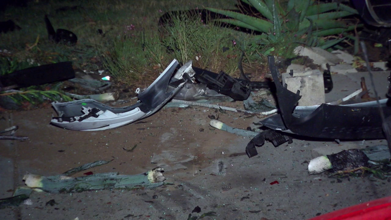Out-of-control Mustang leaves trail of damage