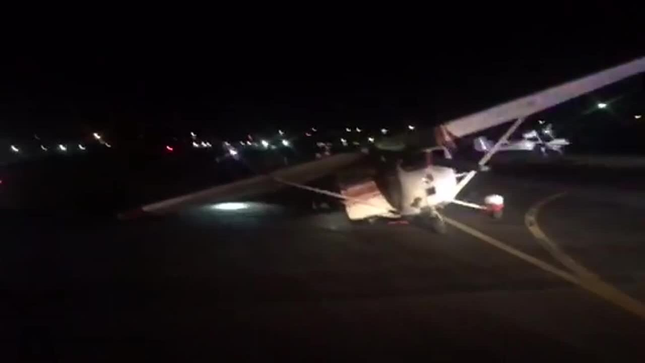Corvette crashes into small airplane at Spanish Fork-Springville Airport