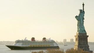 Disney Fantasy cruise ship passes Statue of Liberty in 2012
