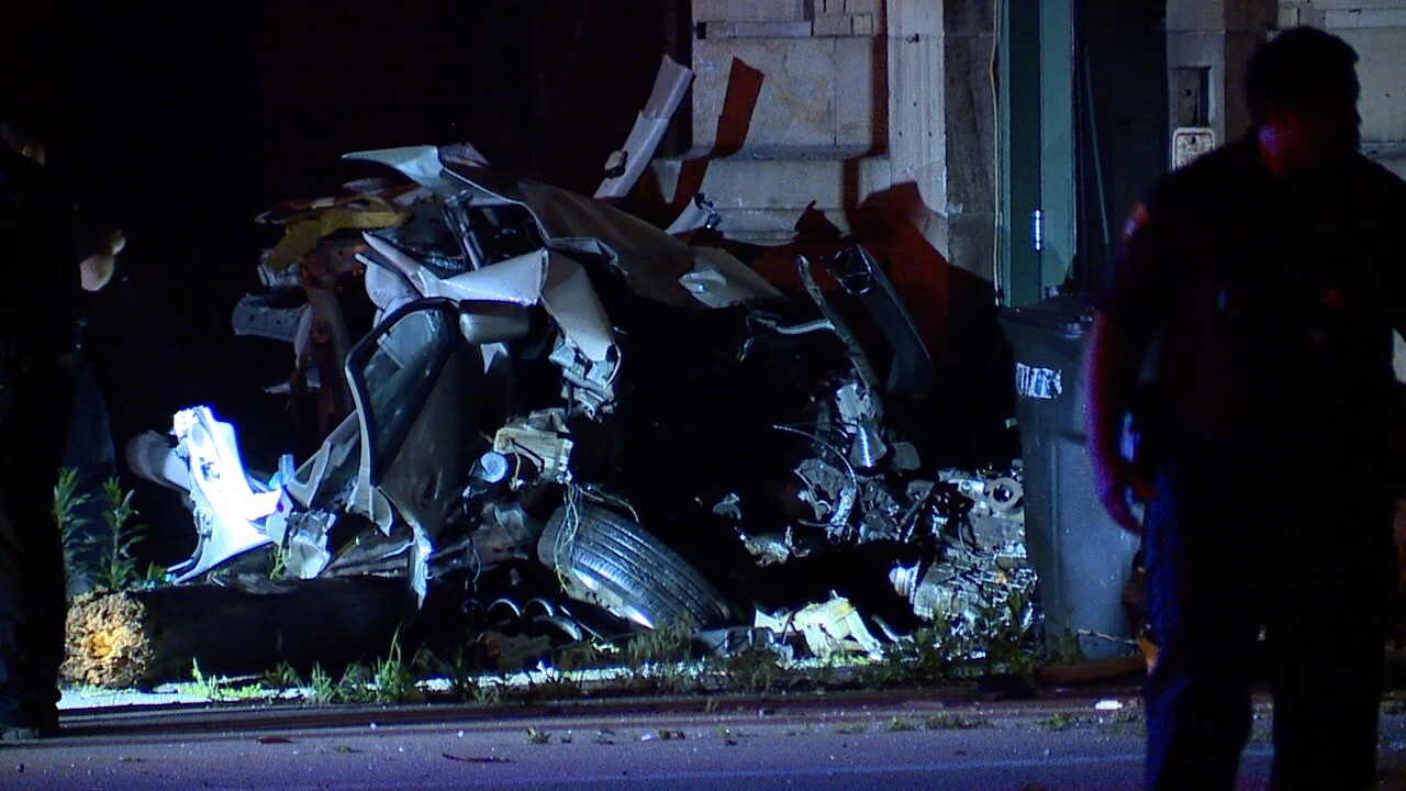2 dead in Cleveland after a car is torn in half in a violent