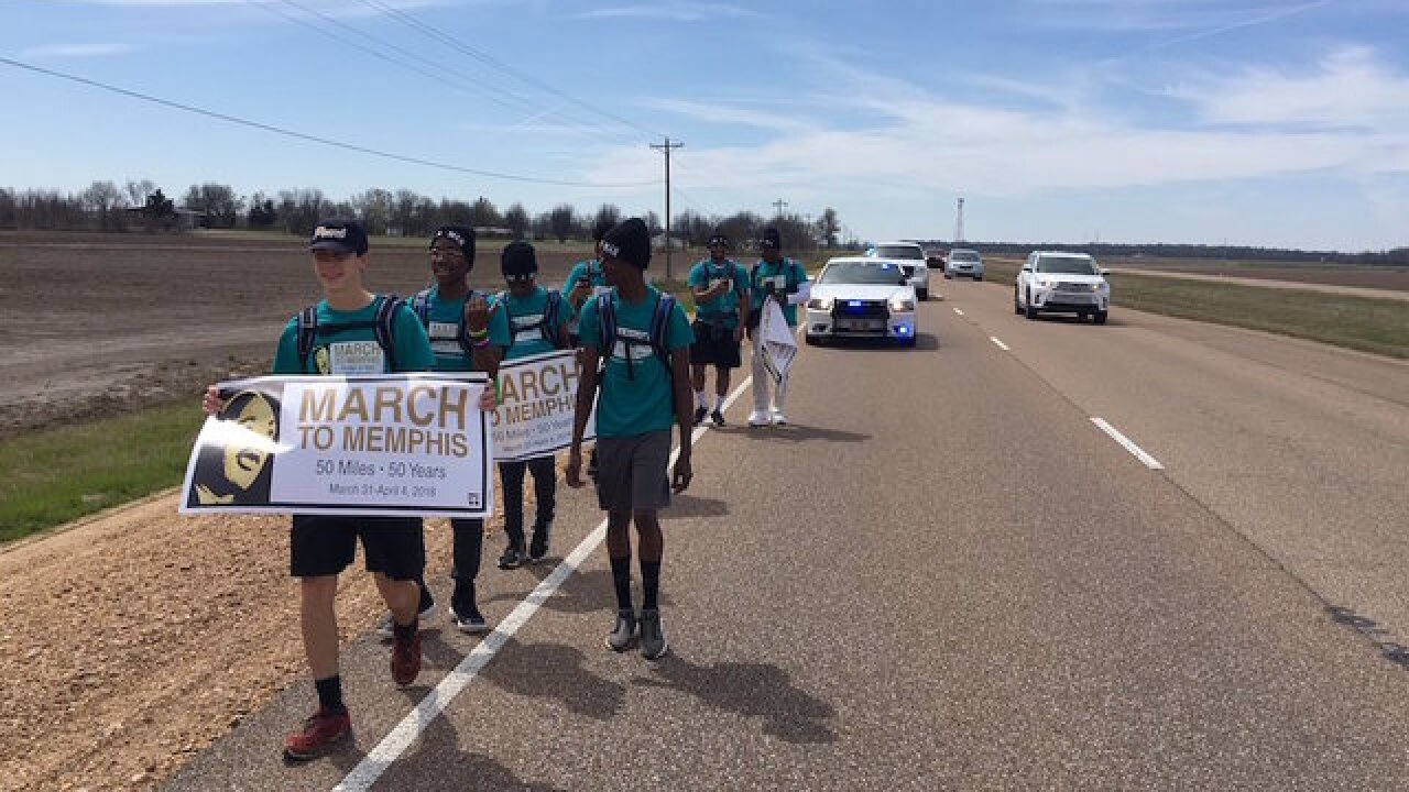 Six teens walking 50 miles to Memphis in honor of Martin Luther King Jr.