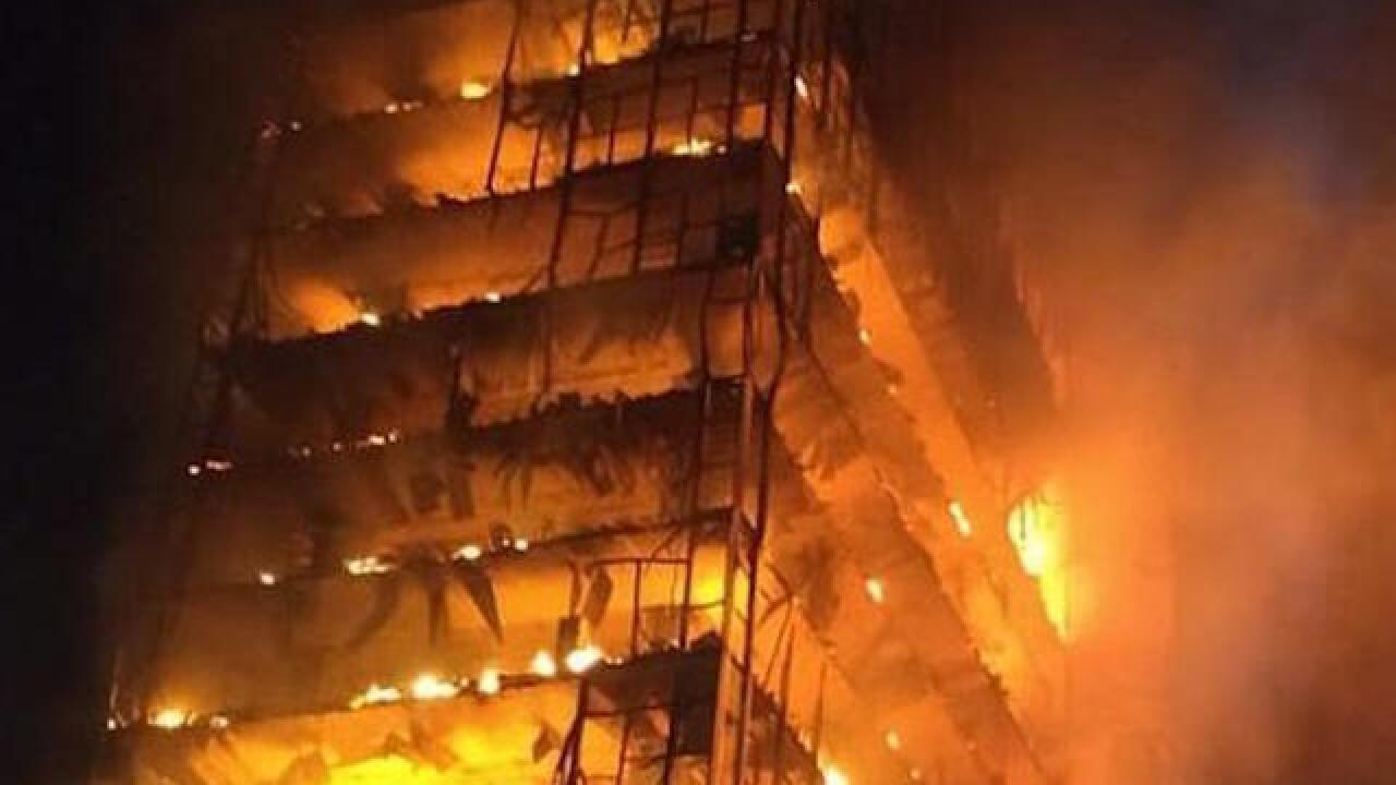 one confirmed dead after huge fire engulfs high rise in brazil