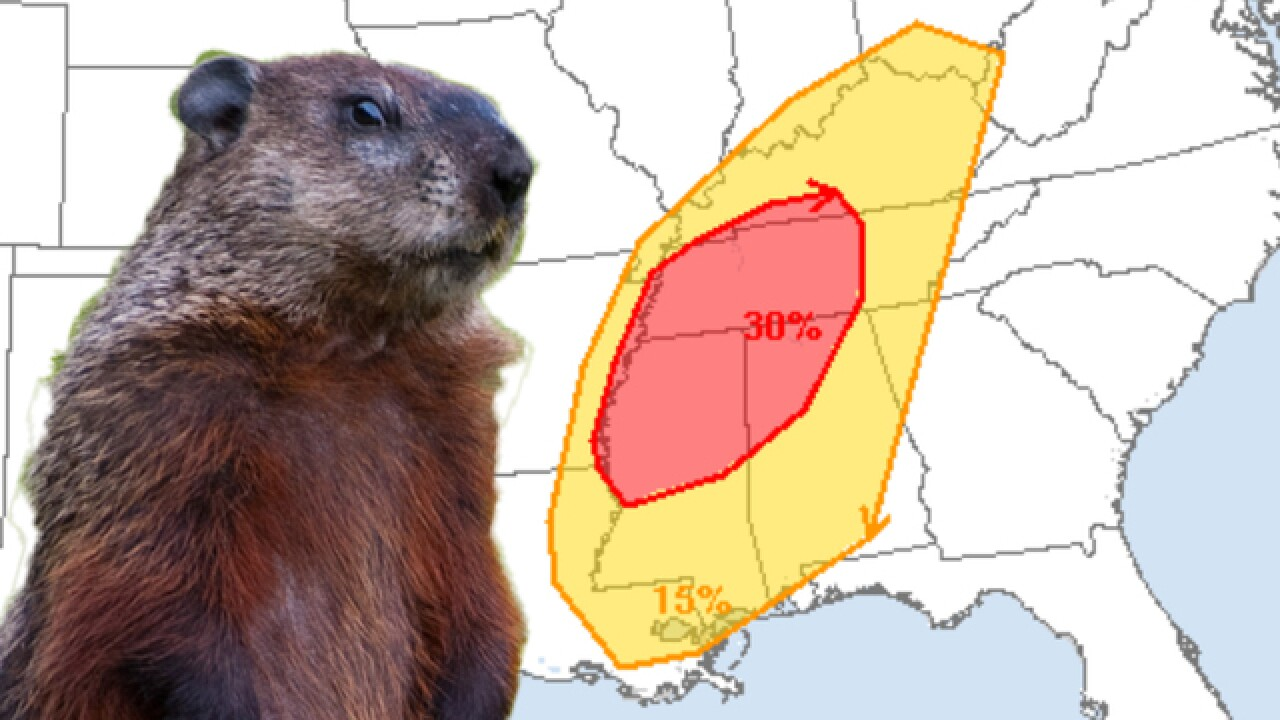 Severe storms possible on Groundhog Day