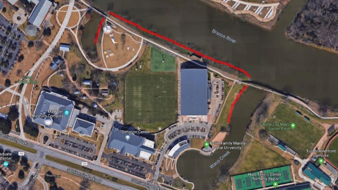 Baylor riverfront slope repair map
