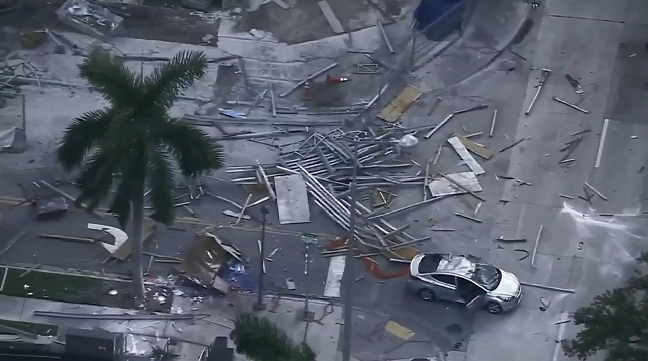 debris falls onto ground after formwork collapses at Echo Brickell building, Oct. 19, 2016