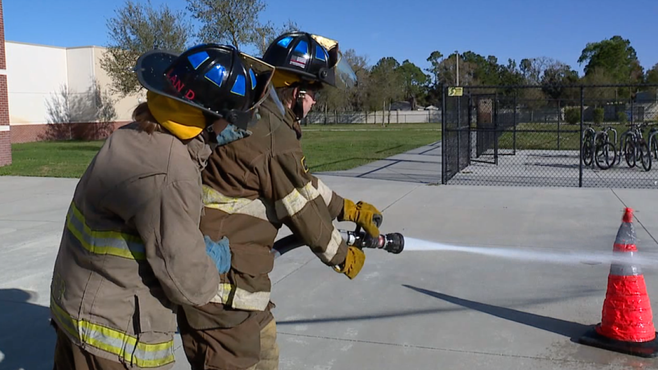 Fivay High School firefighting