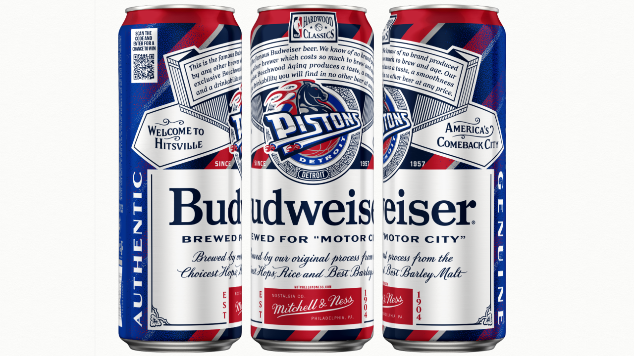 Budweiser Throwback NBA Buds Detroit Pistons