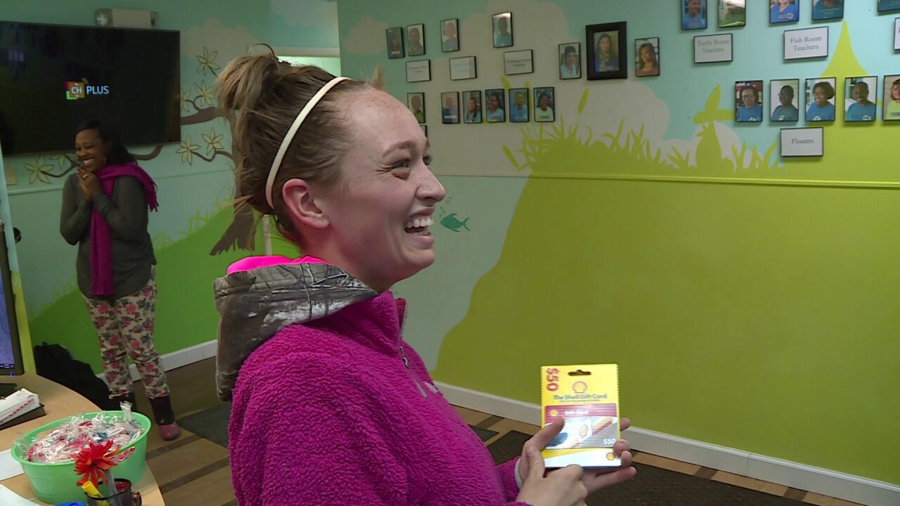 CBS 6 Gives surprises childcare worker on the job