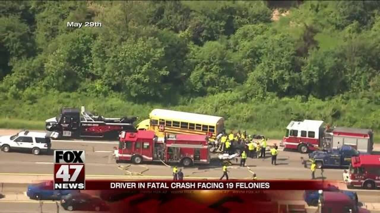 Driver in fatal crash facing 19 felonies