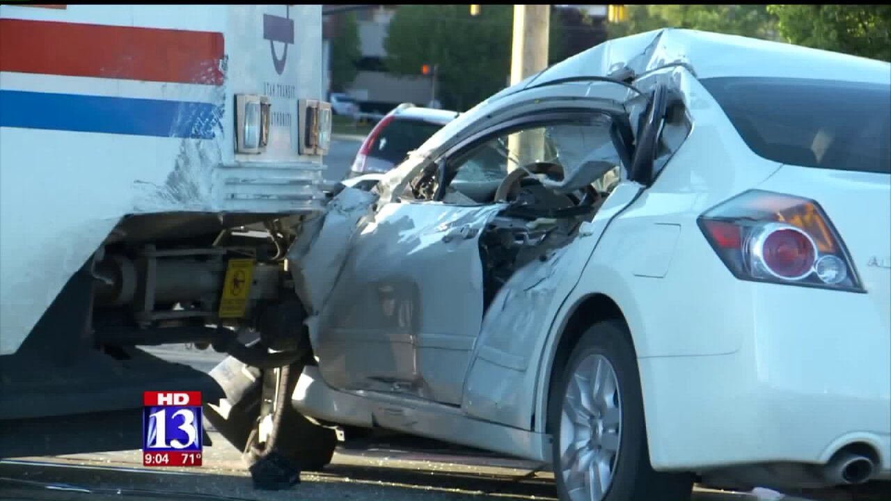 Two in serious condition after TRAX train collides with car inSLC