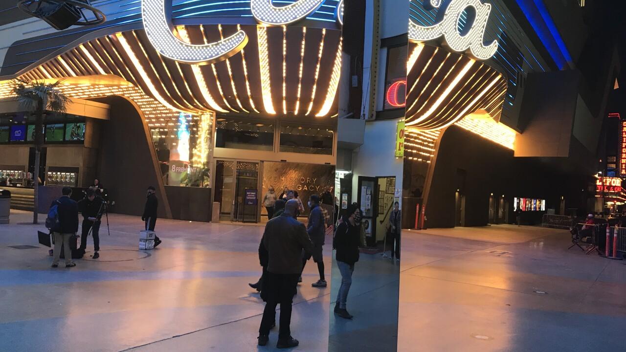 Monolith appears in downtown Las Vegas on Fremont Street
