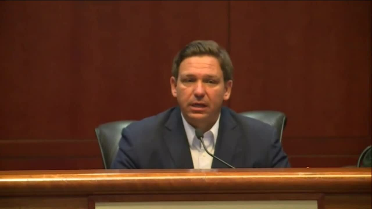 Gov. Ron DeSantis speaks at Florida Capitol in Tallahassee, March 19, 2021