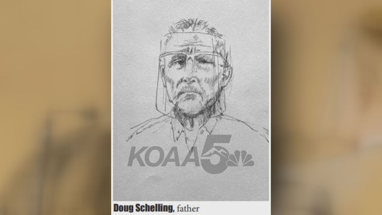 A court sketch of Doug Schelling, Kelsie Schelling's father