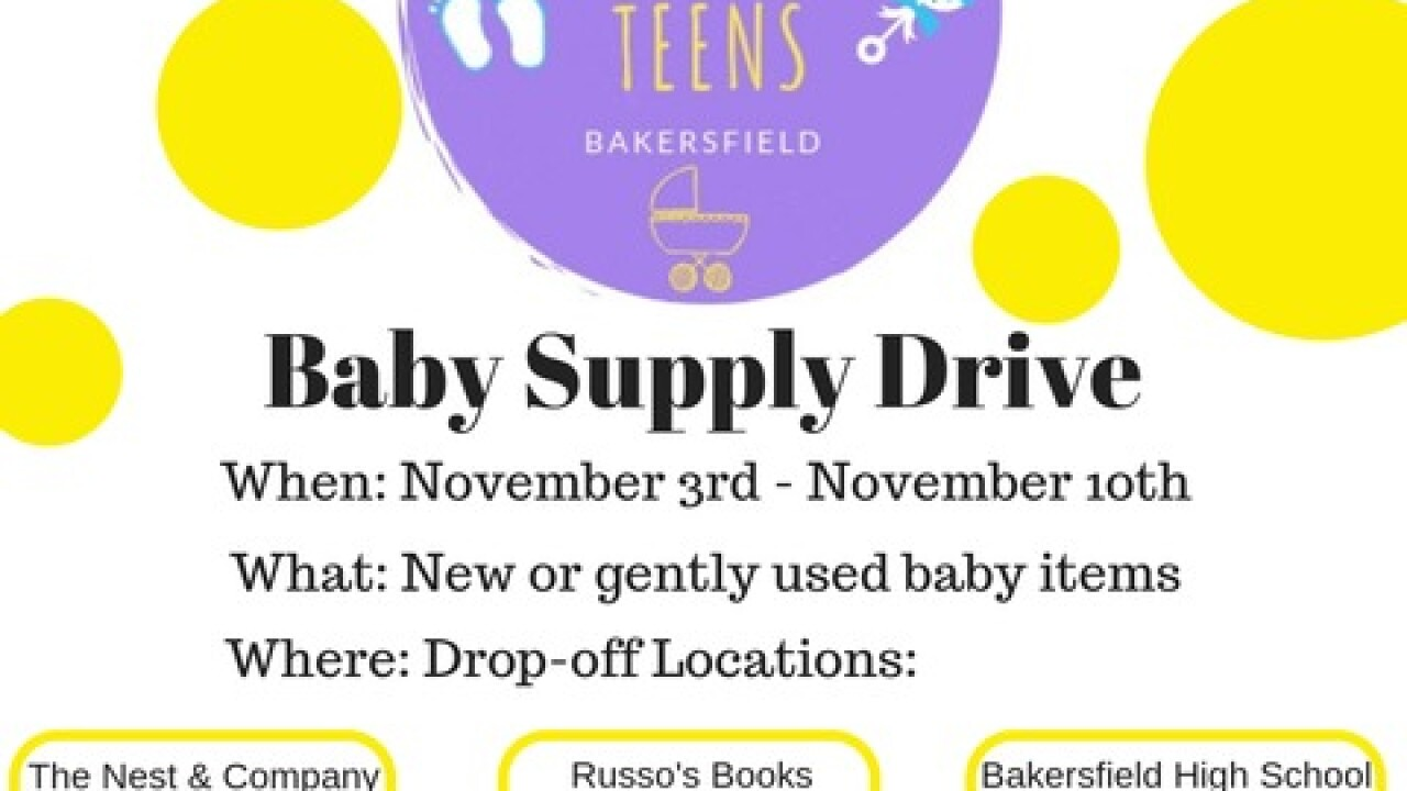 Teens Helping Teens holding baby supply drive