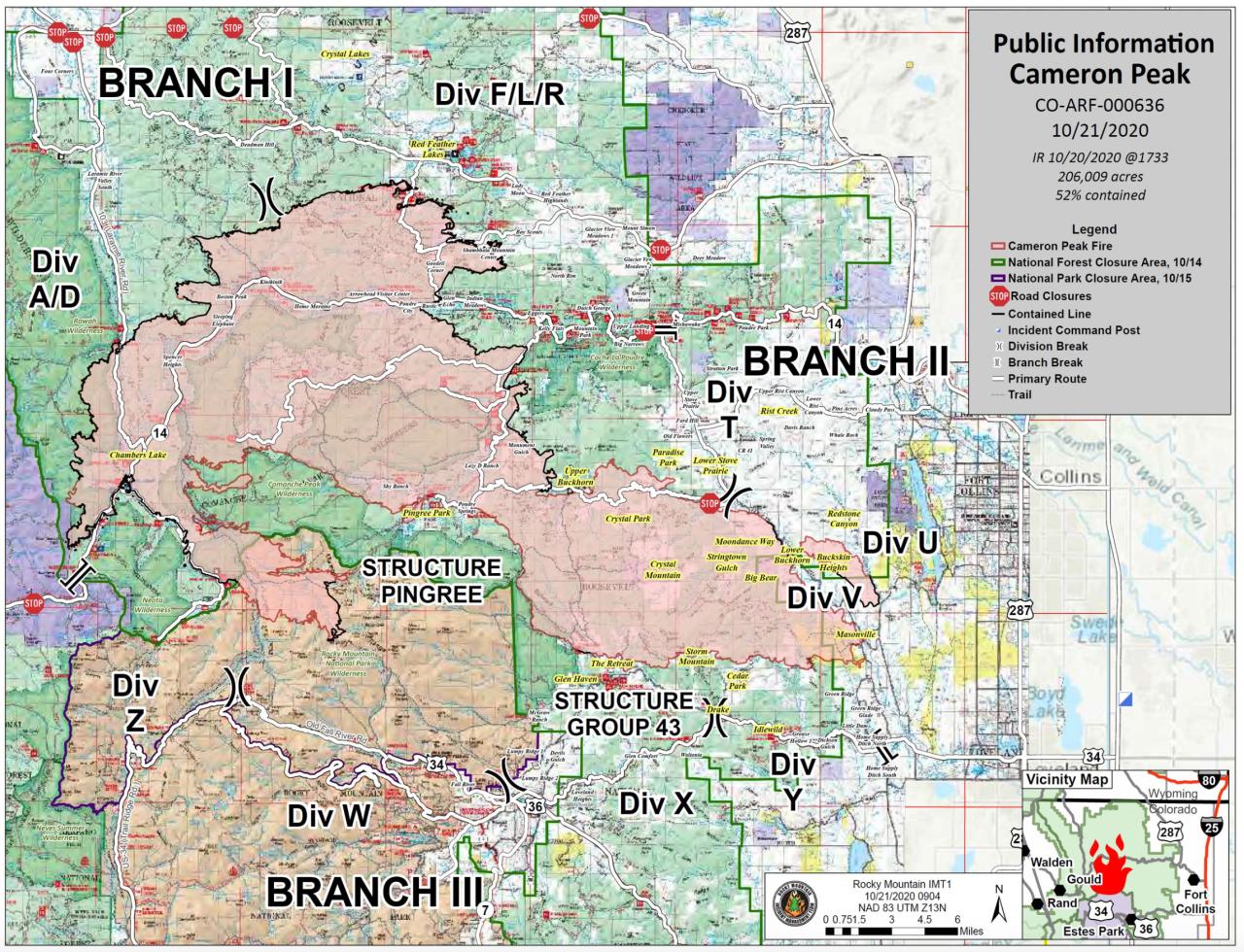 Cameron Peak Fire map_Oct 21 2020