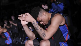 Florida Gators forward Keyontae Johnson waits to be introduced before game in January 2020
