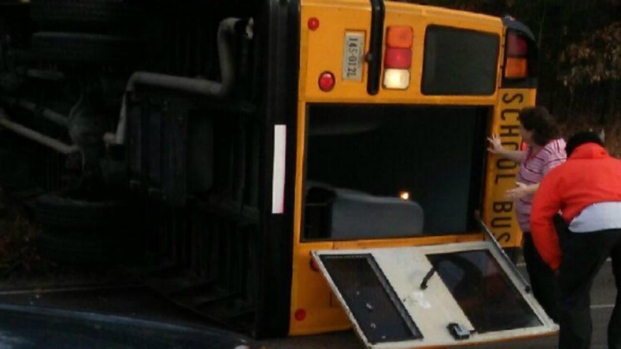 School bus overturns inDinwiddie
