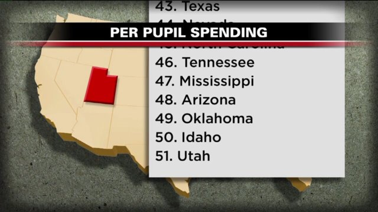 What would it take for Utah to spend as much on education as the national average?