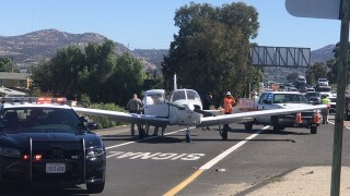 Plane lands on I-8 in El Cajon