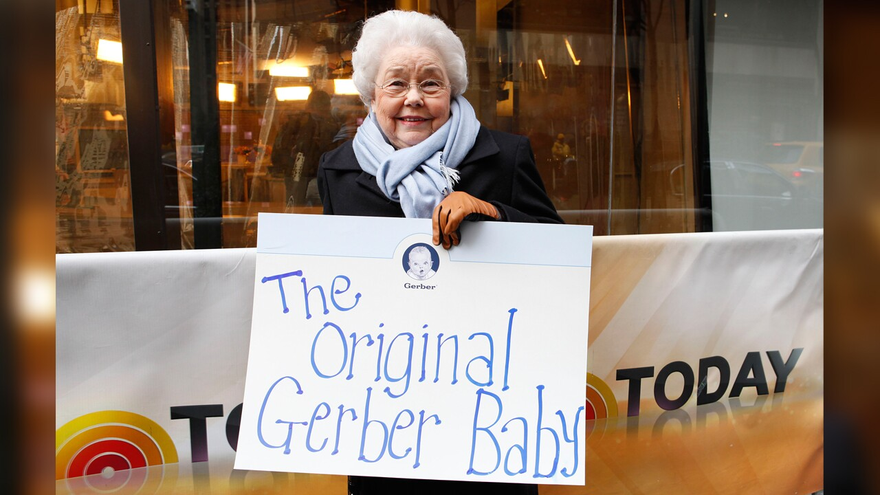Ann Turner Cook, whose baby face launched the iconic Gerber logo, arrives at NBC's Today Show to announce the winner of the 2012 Gerber Generation Photo Search on Tuesday, Nov. 6, 2012 in New York City.