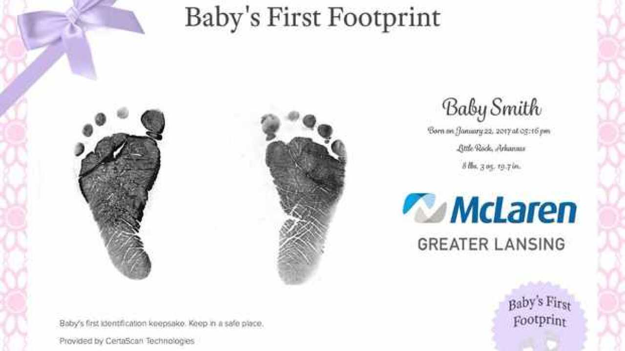 Newborn digital foot printing system at McLaren