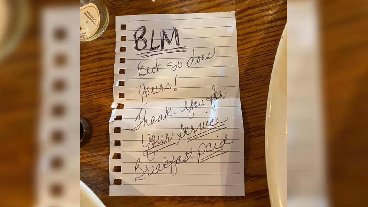 Black women pay for deputy's meal, leave sweet message: 'BLM but so does yours'