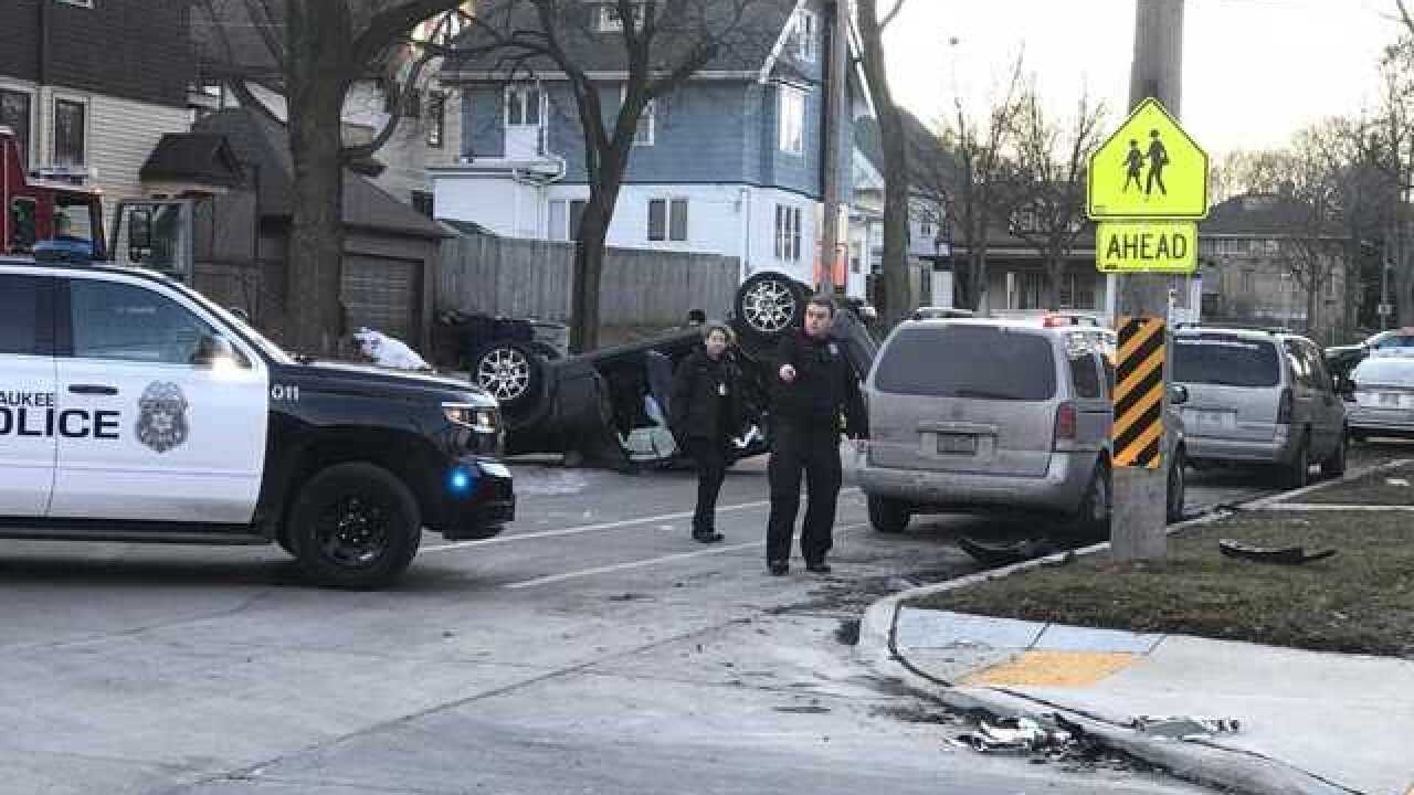 Family injured in MKE hit-and-run rollover crash
