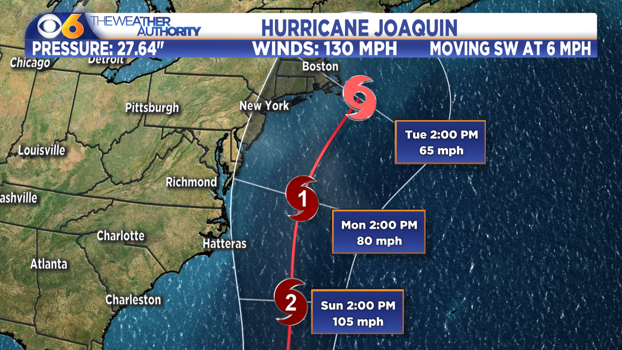 Joaquin is now a category 4 hurricane; forecast track changes