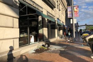 Widespread damage caused to Cleveland's Playhouse Square.