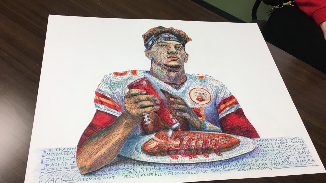 Elementary Art Teacher Creates Patrick Mahomes Piece Using Names