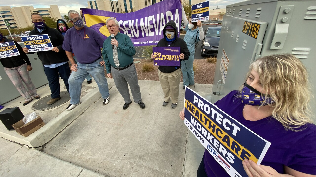 Healthcare workers and SEIU Local 1107 gather outside Mountain View Hospital on Dec. 9 amid a contract dispute.