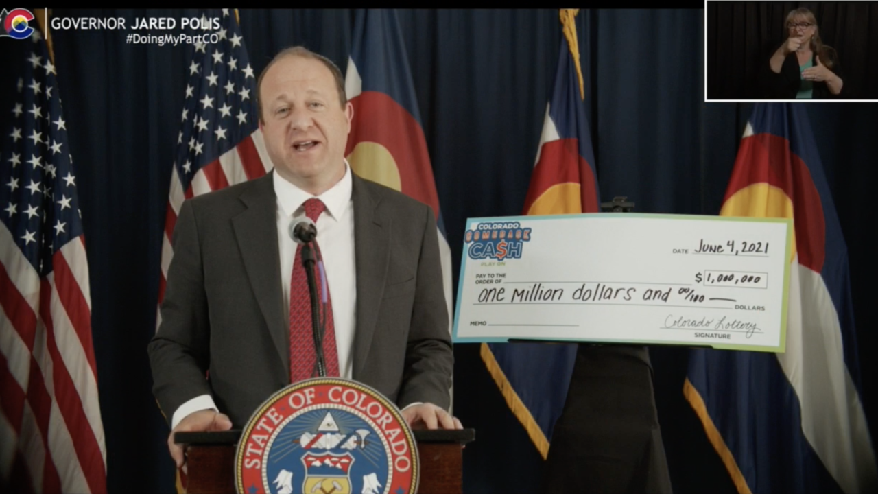 Gov. Jared Polis unveiling the $5,000,000 COVID vaccine lottery