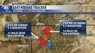 Two earthquakes detected near Old Faithful Geyser Saturday night, early Sunday morning