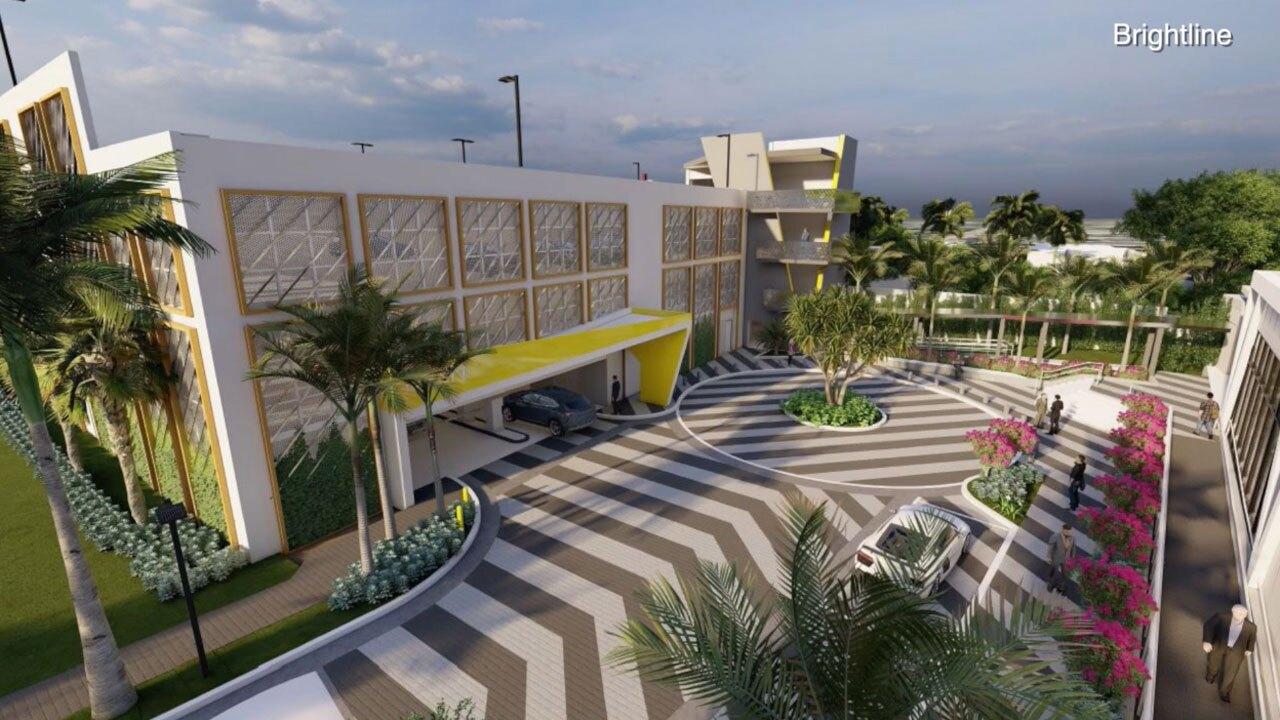 Brightline station parking garage in Boca Raton, artist rendering