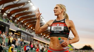 Emma Coburn makes 3rd Olympic team, tops own trials record