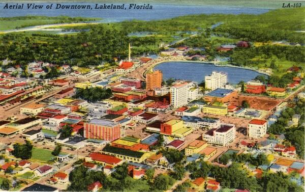 Aerial view of downtown Lakeland; Postcard.jpg