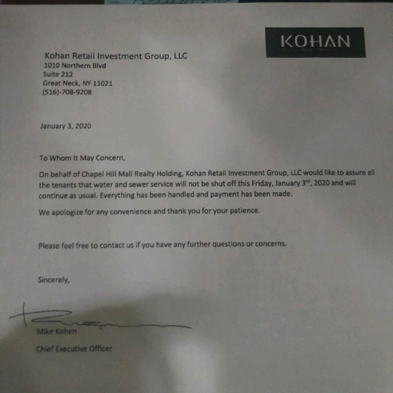 Kohan letter