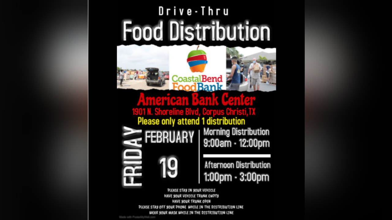 Food bank distribution at American Bank Center