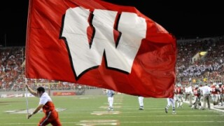 University of Wisconsin red flag with white W