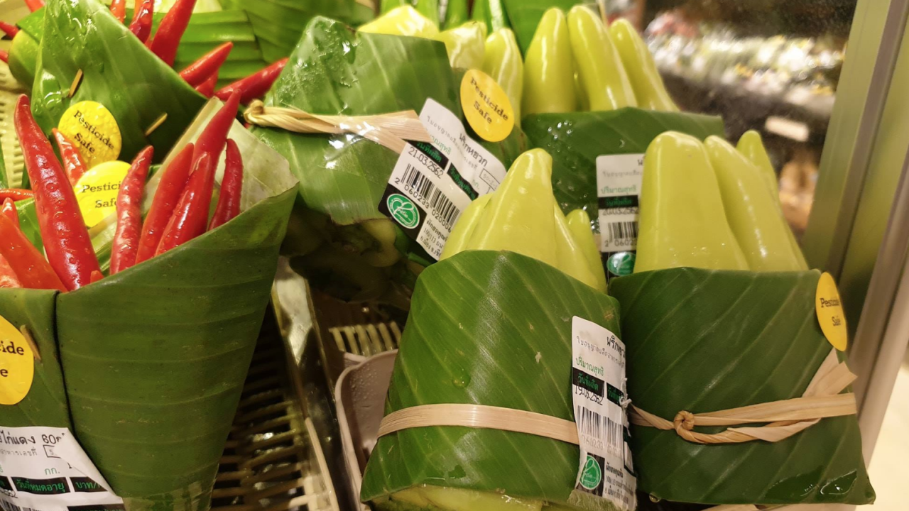 Banana leaves being used in place of plastic packaging for some supermarket goods